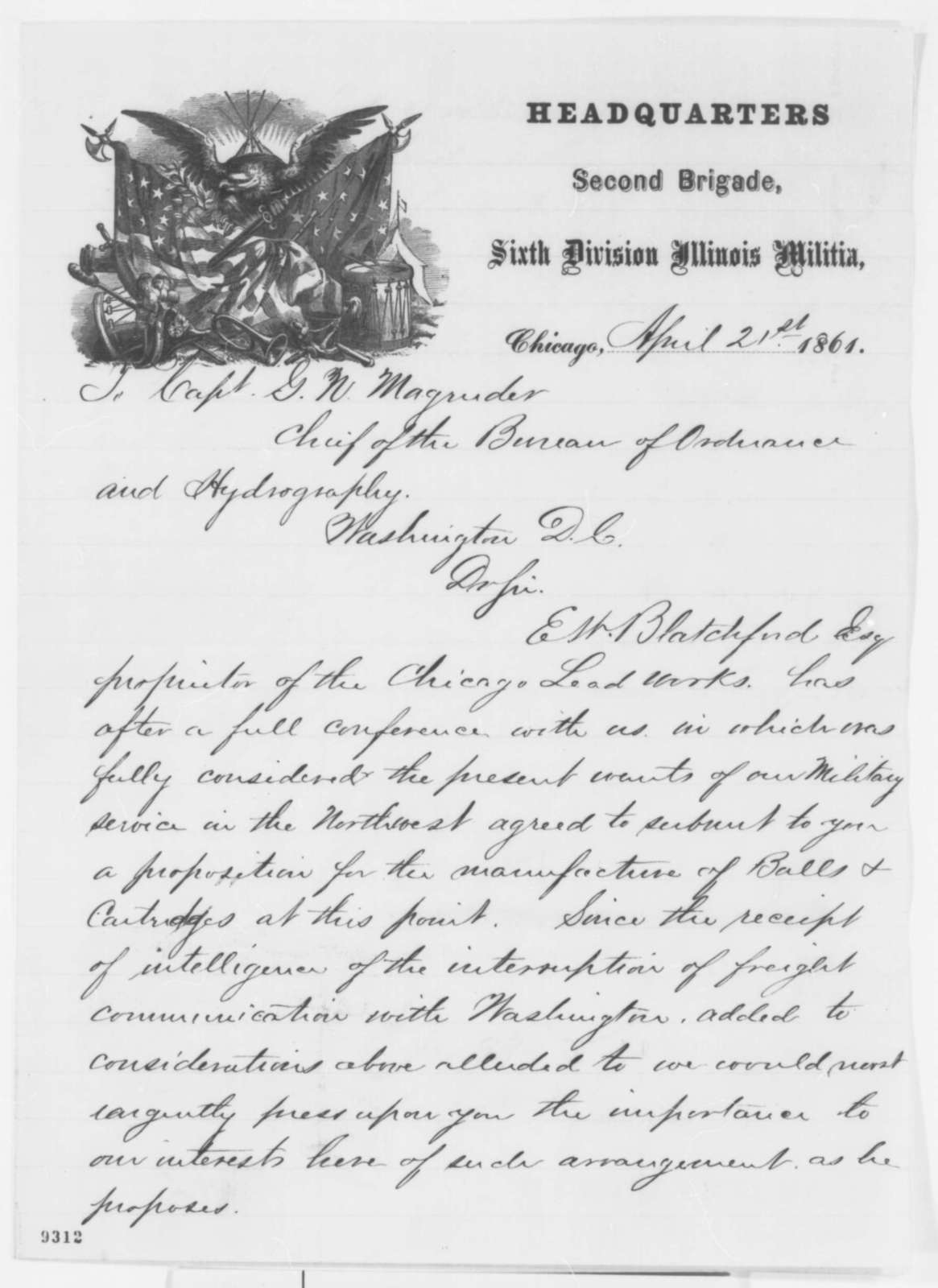 Joseph H. Tucker and R. N. Swift to G. N. Magruder, Sunday, April 21, 1861  (Recommendation)