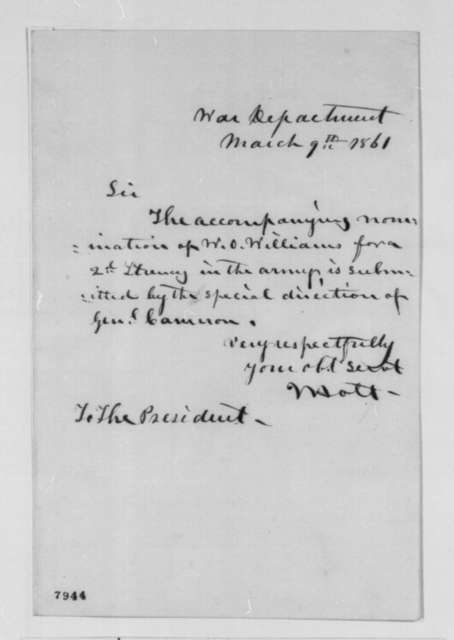 Joseph Holt to Abraham Lincoln, Saturday, March 09, 1861  (Cover letter)