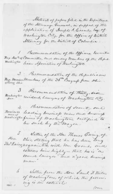 Joseph J. Coombs, April 1861  (List of letters of recommendation)