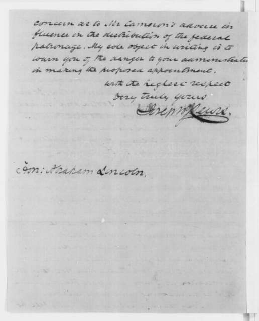 Joseph J. Lewis to Abraham Lincoln, Wednesday, January 09, 1861  (Opposes Cameron)