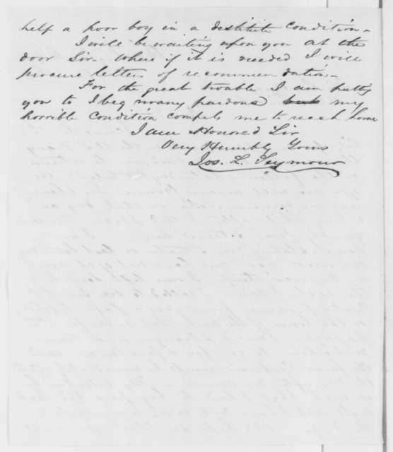Joseph L. Seymour to Abraham Lincoln, Monday, April 08, 1861  (Pennsylvania office seeker)