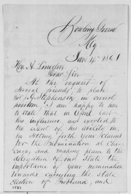 Joseph W. Calvert to Abraham Lincoln, Friday, January 04, 1861  (Recommendation)