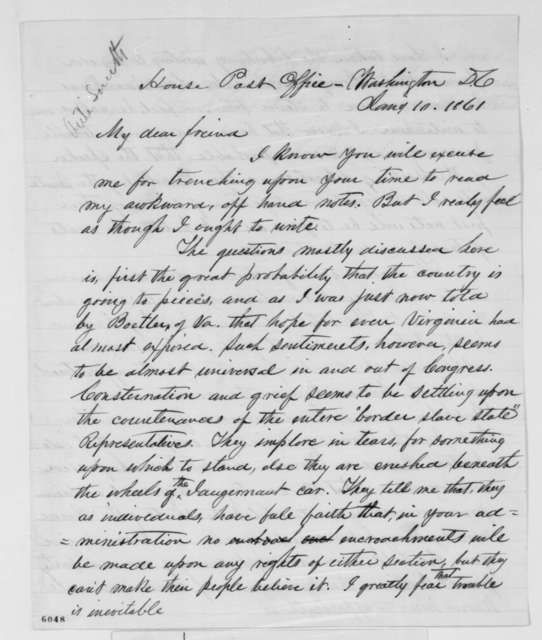 Josiah M. Lucas to Abraham Lincoln, Thursday, January 10, 1861  (Opposes cabinet appointment for Caleb Smith)