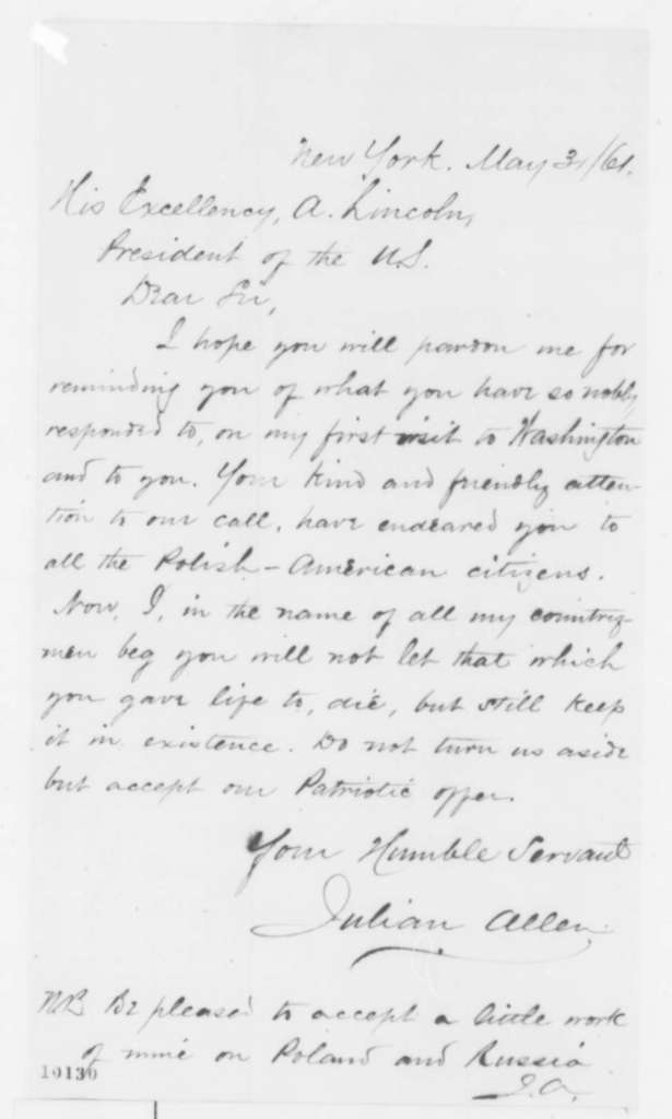 Julian Allen to Abraham Lincoln, Friday, May 31, 1861  (Sends book)