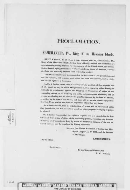 Kamehameha IV, Monday, August 26, 1861  (Printed Proclamation of Neutrality)