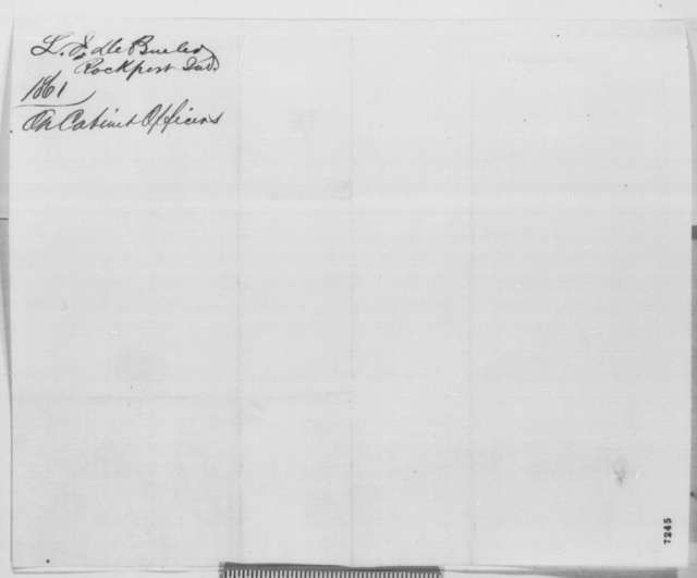 L. J. De Bruler to Abraham Lincoln, Friday, February 08, 1861  (Recommends Colfax for cabinet)