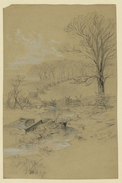 [Landscape with fence and stream]