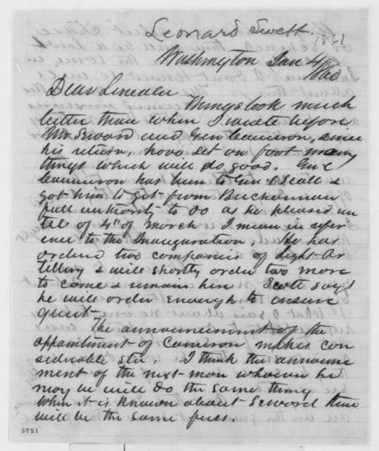 Leonard Swett to Abraham Lincoln, Friday, January 04, 1861  (Report from Washington)