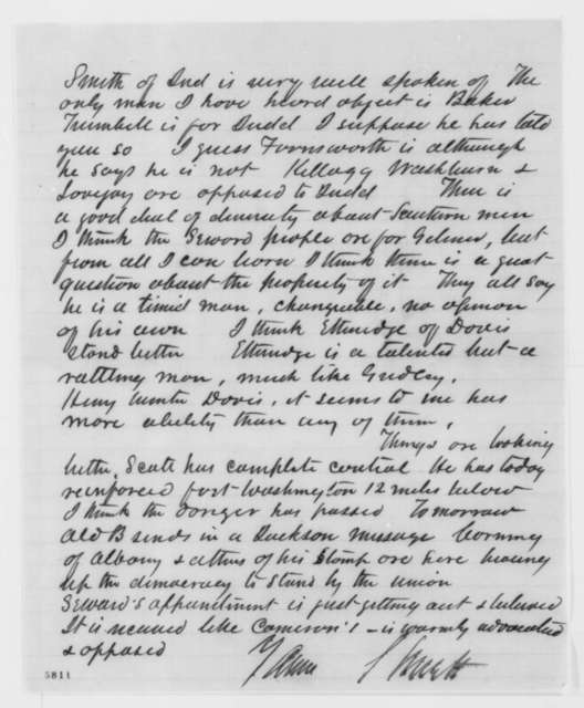 Leonard Swett to Abraham Lincoln, Saturday, January 05, 1861  (Cabinet appointments)