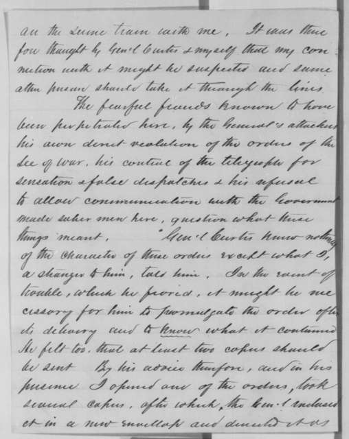 Leonard Swett to Abraham Lincoln, Saturday, November 09, 1861  (Report on mission to Missouri)