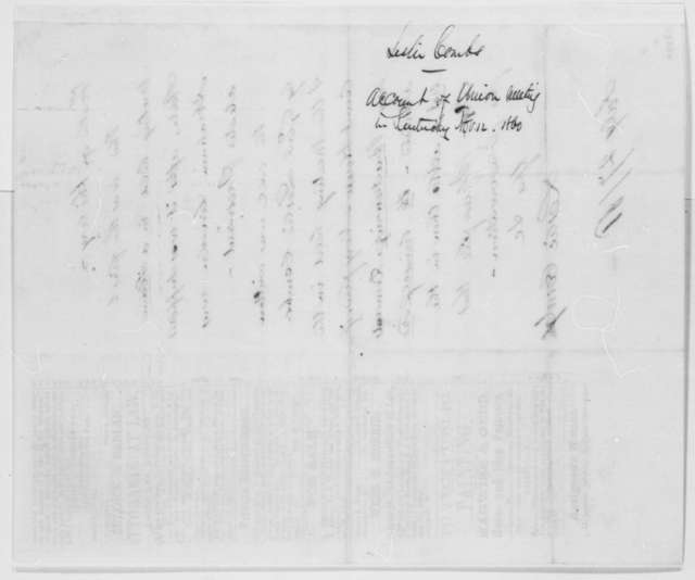 Leslie Combs to Abraham Lincoln, Saturday, July 27, 1861  (Union efforts in Kentucky)