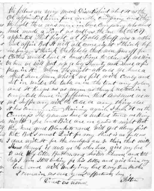 Letter from Tilton C. Reynolds to Juliana Smith Reynolds, November 2, 1861
