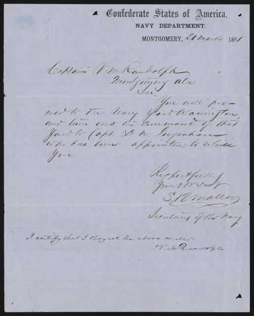 Letter to V. M. Randolph from S. R. Mallory, March 20, 1861.