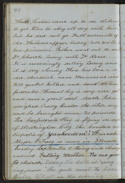 Lewis H. Machen Family Papers: Diaries and Diary Transcriptions, 1860-1865; Diaries; Gresham, LeRoy Wiley; 1861, 2 Aug.-30 Dec.