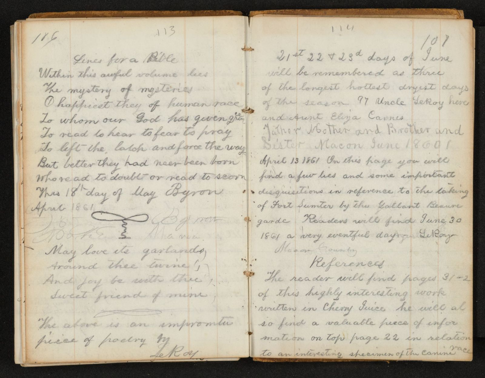 Lewis H. Machen Family Papers: Diaries and Diary Transcriptions, 1860-1865; Diaries; Gresham, LeRoy Wiley; 1861, 27 Mar.-1 Aug.