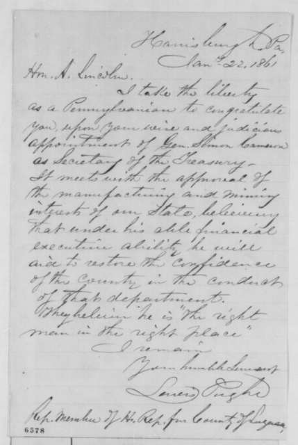 Lewis Pughe to Abraham Lincoln, Tuesday, January 22, 1861  (Supports Cameron)