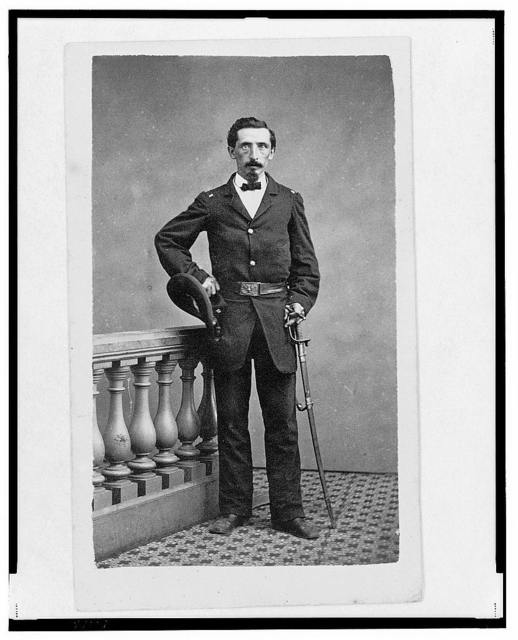 [Lieutenant Francis (or Frank or Franz) L. Weber, Union officer in the 32nd Indiana Regiment, full-length portrait, standing, facing  front] / Davies & Merritt, Indianapolis, Ind.
