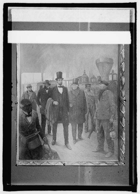 Lincoln arrival at B&O Station, Feb. 23, 1861 for his innauguration, Lincoln Memorial Assn. J.W. Hill. Copy