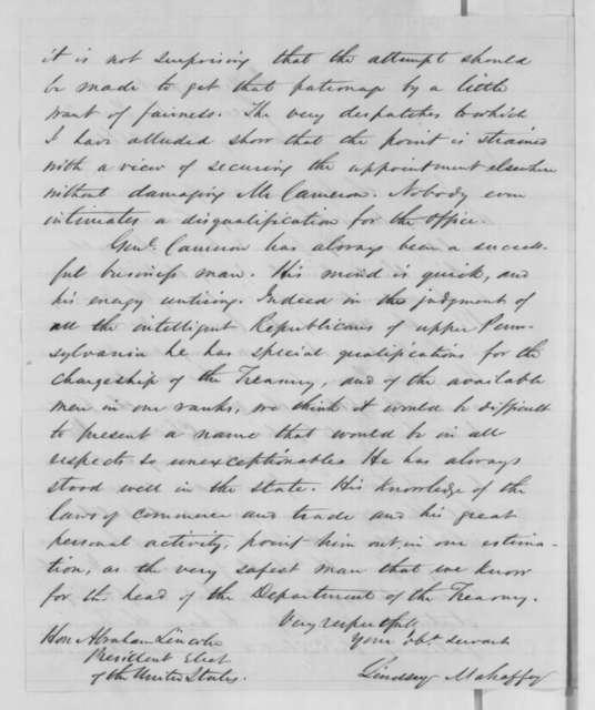 Lindsey Mahaffey to Abraham Lincoln, Thursday, January 24, 1861  (Supports Cameron)
