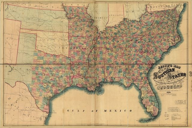 Lloyd's map of the southern states showing all the railroads, their stations & distances, also the counties, towns, villages, harbors, rivers, and forts.