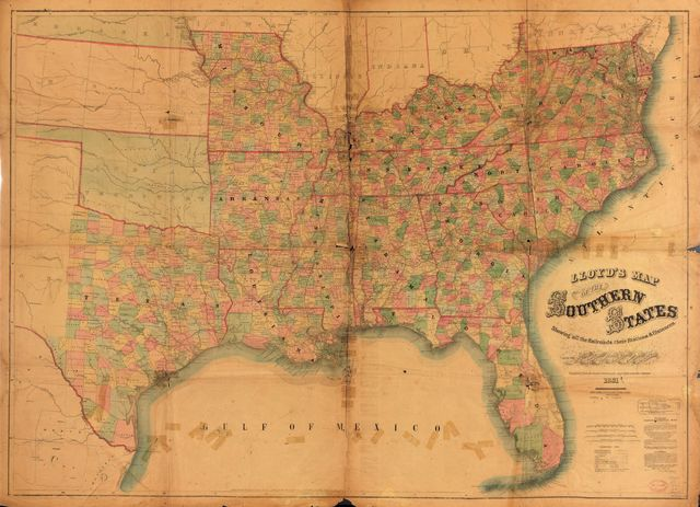 Lloyd's map of the Southern States, showing all the railroads, their stations & distances : also the counties, towns, villages, harbors, rivers, and forts.
