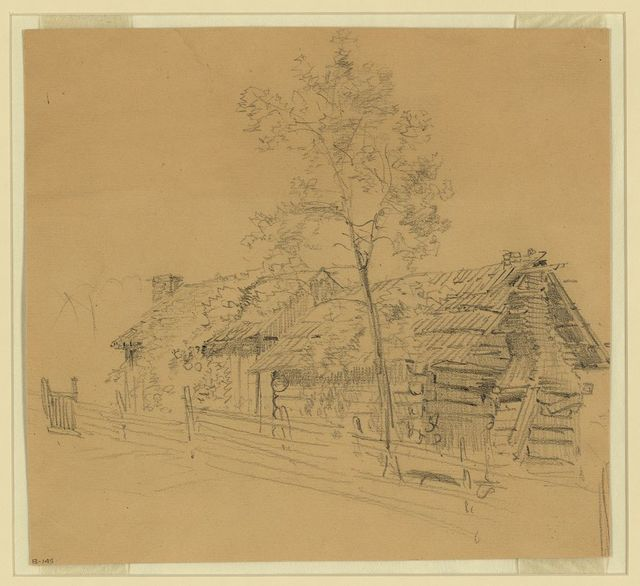[Log cabin beside tree and rail fence]