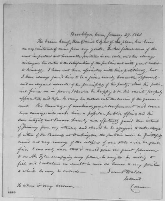 Loren P. Waldo to Unknown, Tuesday, January 29, 1861  (Recommendation)