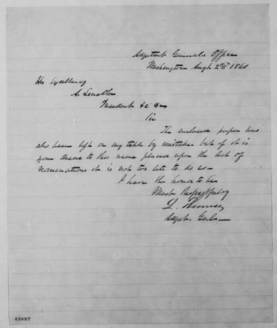 Lorenzo Thomas to Abraham Lincoln, Friday, August 02, 1861  (Cover letter)