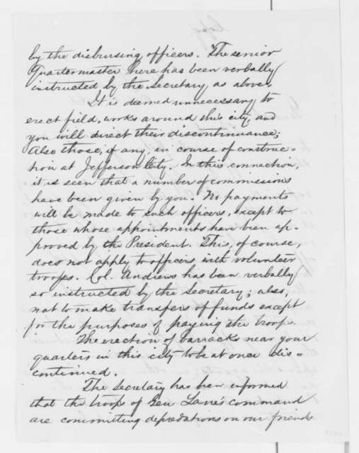 Lorenzo Thomas to John C. Fremont, Monday, October 14, 1861  (Government contracts)