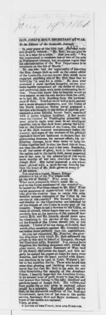 Louisville Kentucky Journal, Saturday, January 19, 1861  (Clipping)