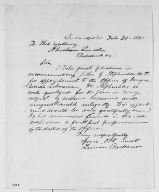 Lucian Barbour to Abraham Lincoln, Wednesday, February 20, 1861  (Recommendation)