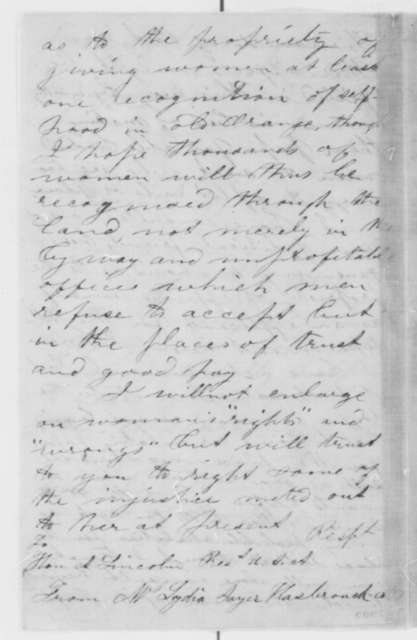 Lydia Sayer Hasbrouck to Abraham Lincoln, Friday, March 08, 1861  (Seeks appointments for women)
