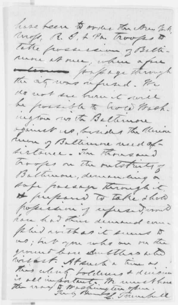 Lyman Trumbull to Abraham Lincoln, Sunday, April 21, 1861  (Conditions in Illinois)