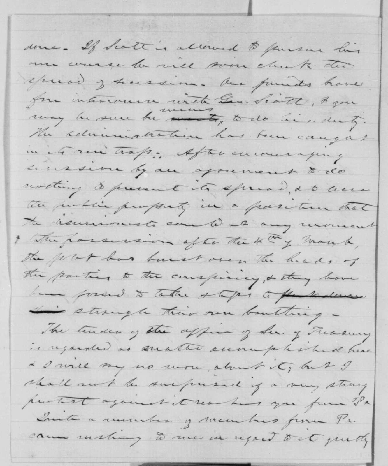 Lyman Trumbull to Abraham Lincoln, Thursday, January 03, 1861  (Buchanan's policy towards South Carolina)