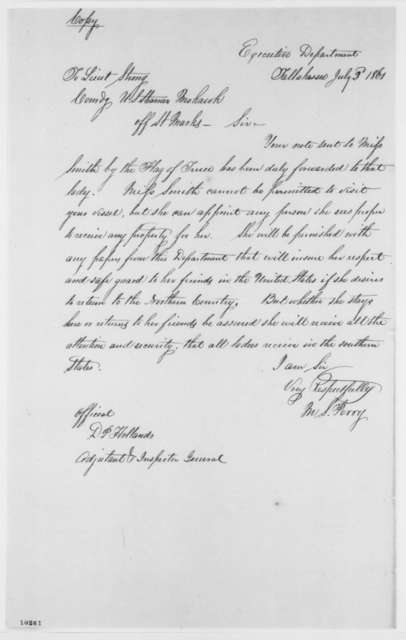 M. S. Perry to J. H. Strong, Tuesday, July 02, 1861  (Removal of Elizabeth Smith from St. Marks, Florida)