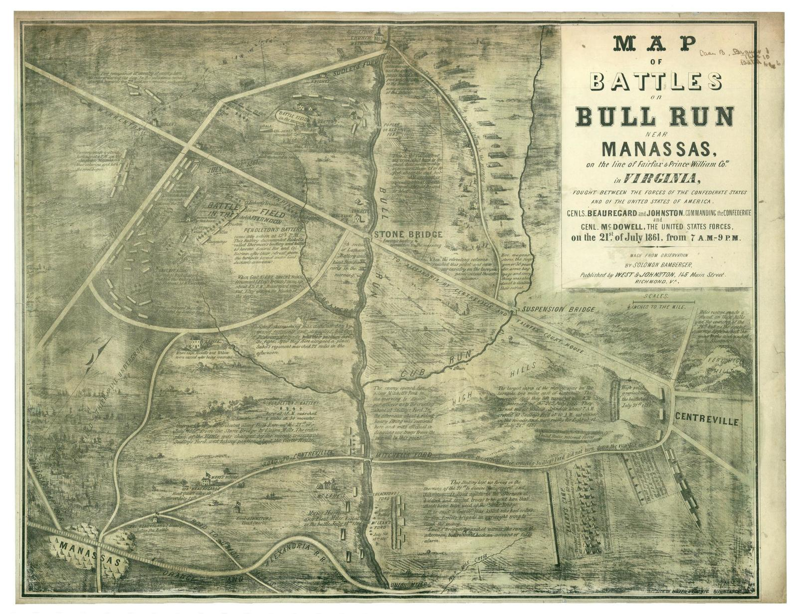 Map of battles on Bull Run near Manassas, 21st of July 1861 on the line of Fairfax & Prince William Co[unti]es in Virginia, fought between the forces of the Confederate States and of the United States of America /