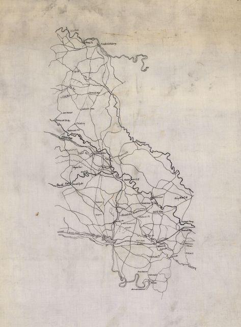[Map of country between Fredericksburg and Richmond, Virginia, showing roads, railroads, and some place names].