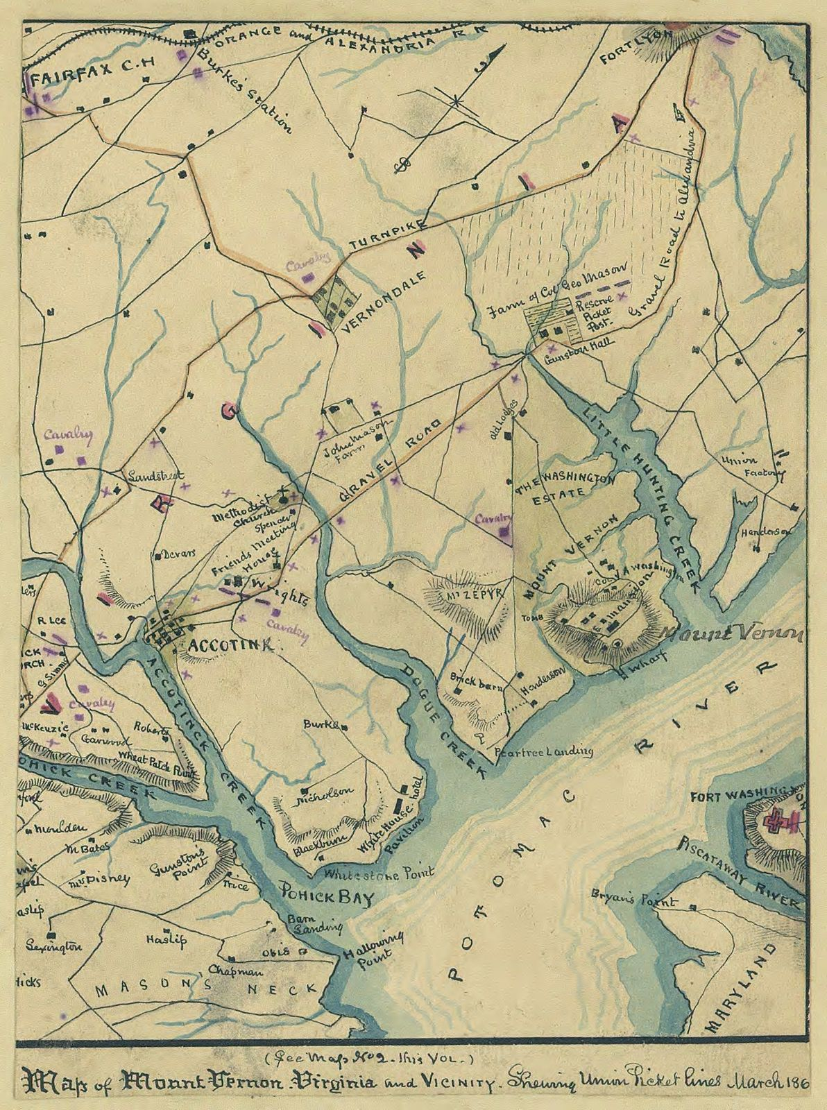 Map of Mount Vernon, Virginia and vicinity : shewing [sic] Union picket lines, March 186[1].