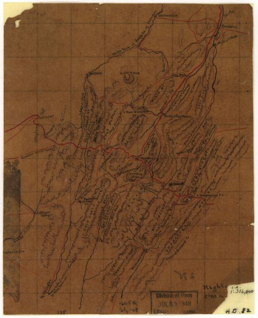 [Map of parts of Highland County, Va., and Pendleton County, W. Va.].