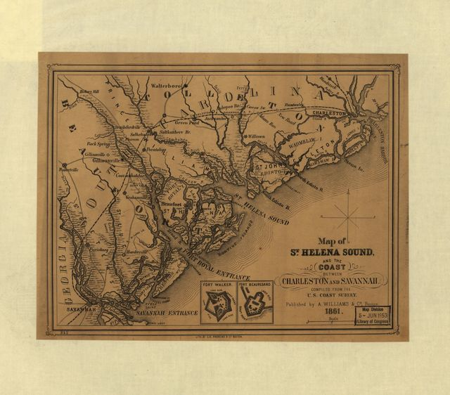 Map of St. Helena Sound, and the coast between Charleston and Savannah
