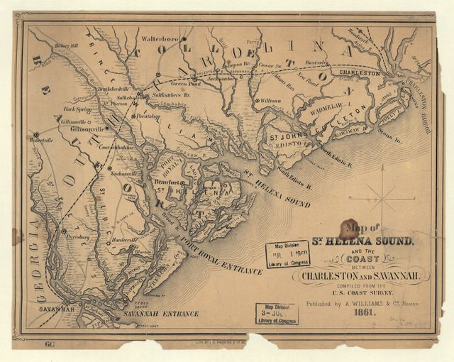 Map of St. Helena Sound, and the coast between Charleston and Savannah /
