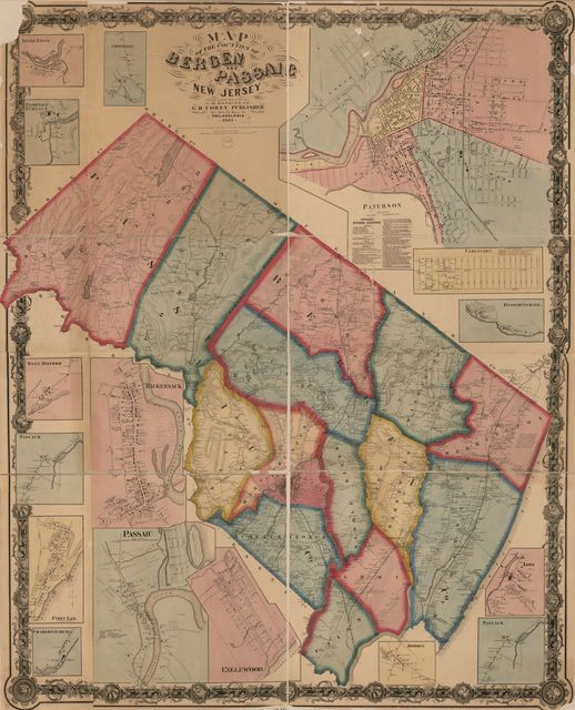 Map of the counties of Bergen and Passaic, New Jersey : from actual surveys /