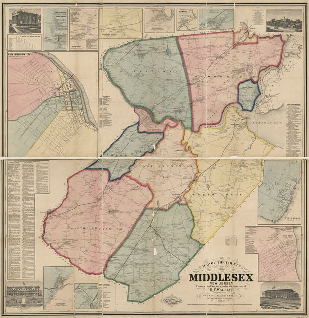 Map of the county of Middlesex, New Jersey : from actual surveys /