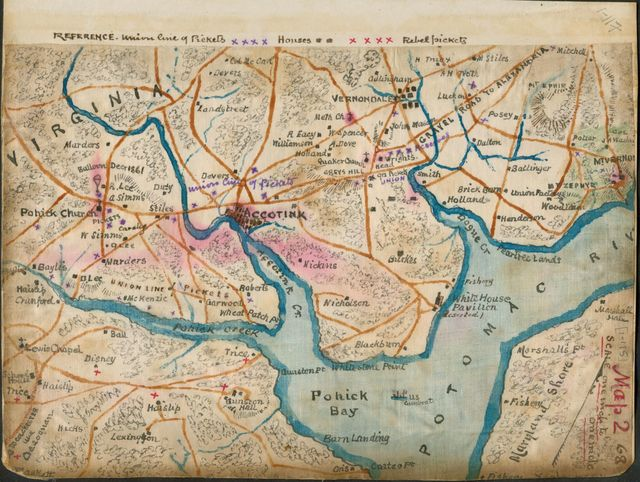 [Map of the lower Potomac River showing picket lines, January 1862]