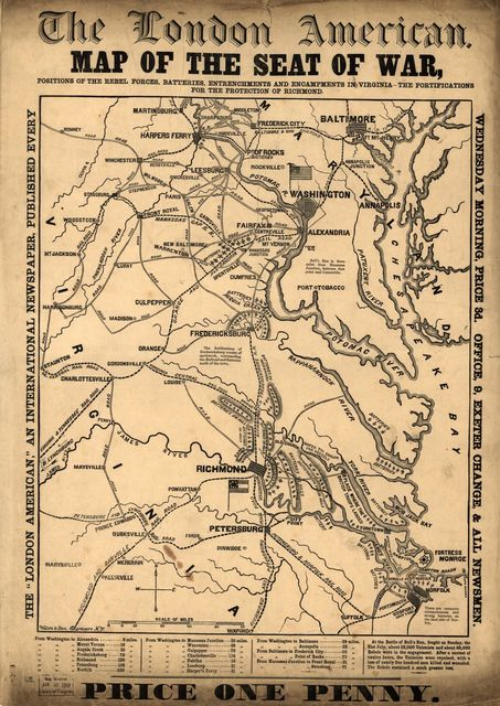 Map of the seat of war, positions of the rebel forces, batteries, entrenchments, and encampments in Virginia-the fortifications for the protection of Richmond
