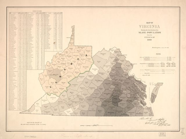 Map of Virginia : showing the distribution of its slave population from the census of 1860 /