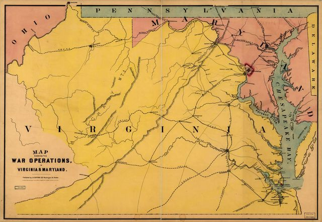 Map showing the war operations, in Virginia & Maryland.