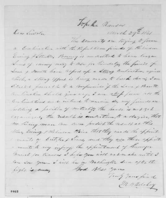 Mark W. Delahay to Abraham Lincoln, Friday, March 29, 1861  (Kansas politics)