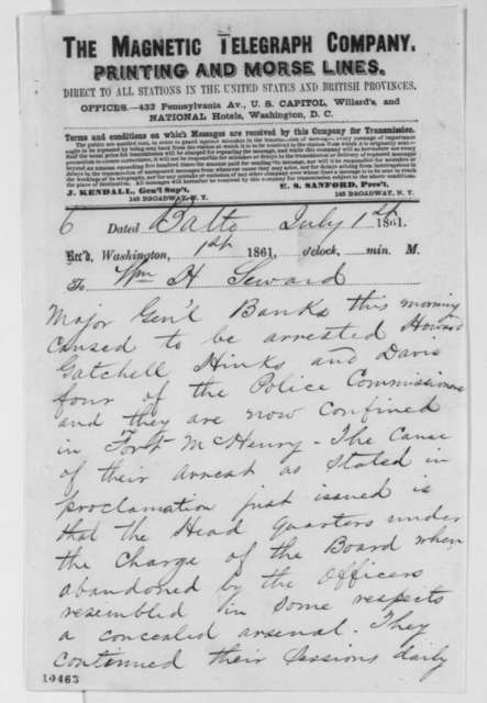 Marriot Boswell to William H. Seward, Monday, July 01, 1861  (Telegram regarding arrests in Baltimore)