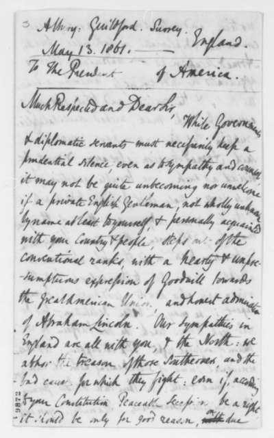 Martin T. Tupper to Abraham Lincoln, Monday, May 13, 1861  (Support from England)